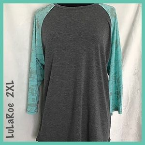 aRoe Gray Turquoise Sleeves Baseball Top Size 2XL